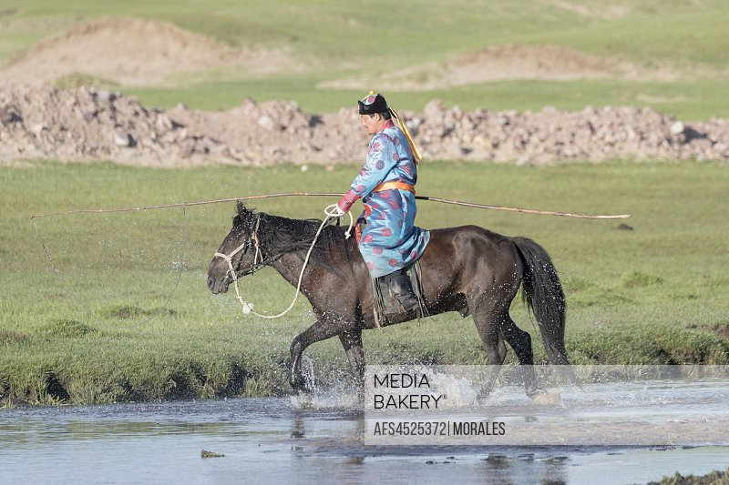 China, Inner Mongolia, Hebei Province, Zhangjiakou, Bashang Grassland, Mongolian man traditionnaly dressed with his horse.