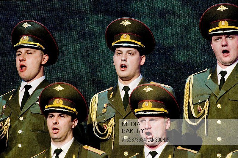 """Singers of the Russian Army Choir """"Alexandrov Ensemble"""" performing in the concert given in a small Czech town Loket, 14 June 2009  Alexandrov Ensemble..."""