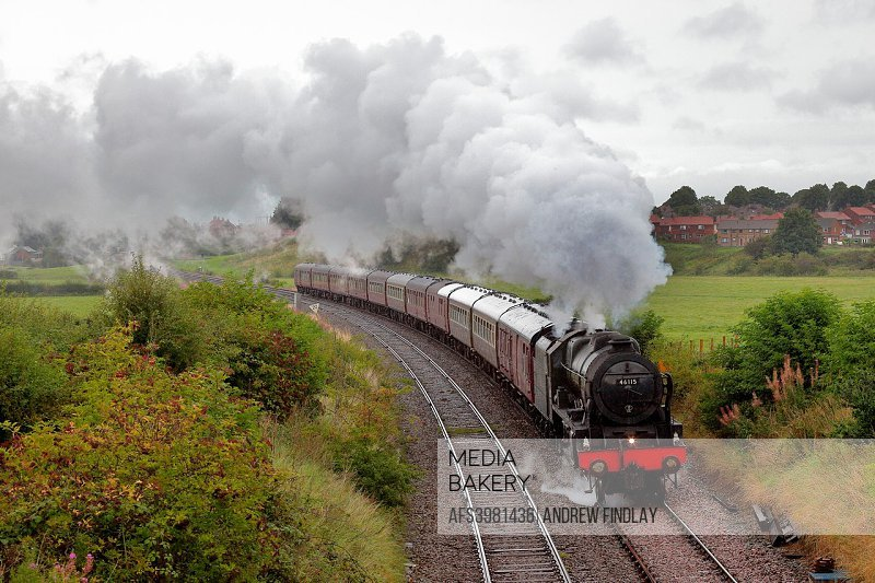 Steam train LMS Royal Scot Class 46115 Scots Guardsman. Blackwell Hall, Cummersdale, Carlisle, Maryport and Carlisle Railway, Cumbrian Coast Line, Cum...