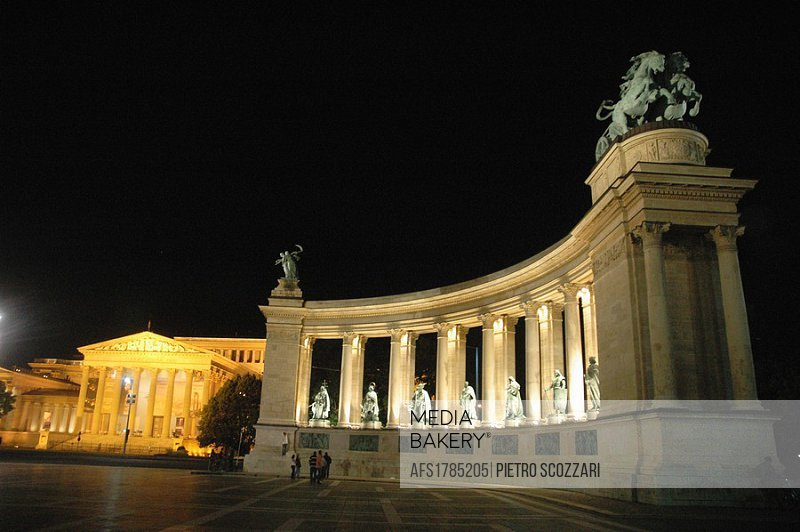 Budapest (Hungary), the the Heroes Square, nighttime