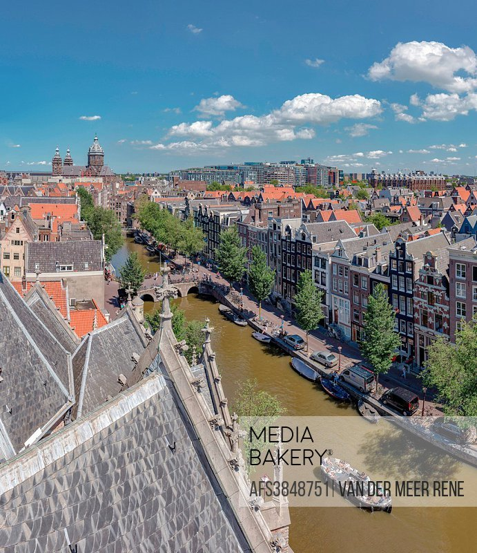 Amsterdam, Noord-Holland, View over the roofs seen from The Old Church, Oudezijds Voorburgwal