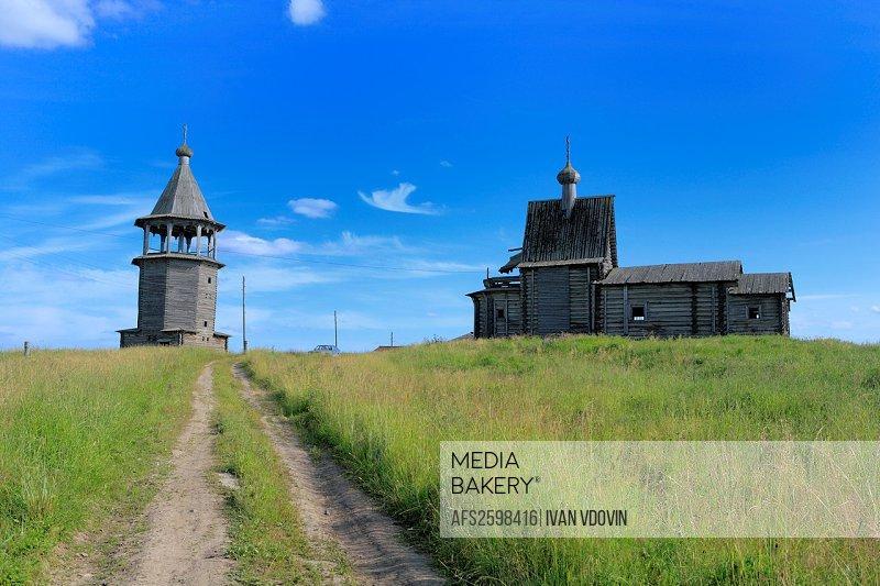 St  Basil church 1824 and bell tower 1783, Chukhcherema, Archangelsk Arkhangelsk region, Russia