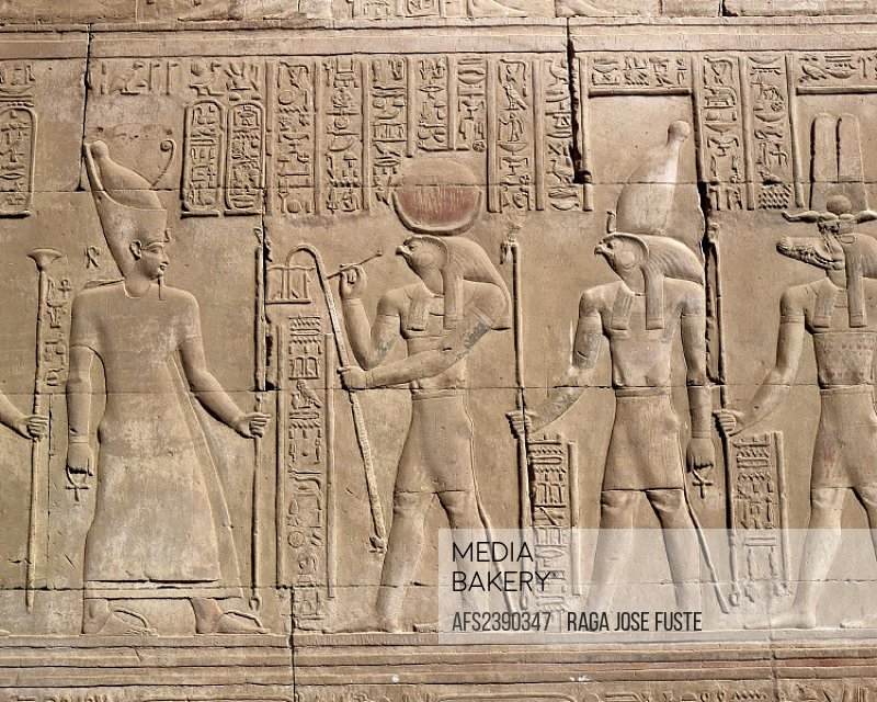 10086257, Egypt, North Africa, figures, Kom Ombo temple, relief, character,