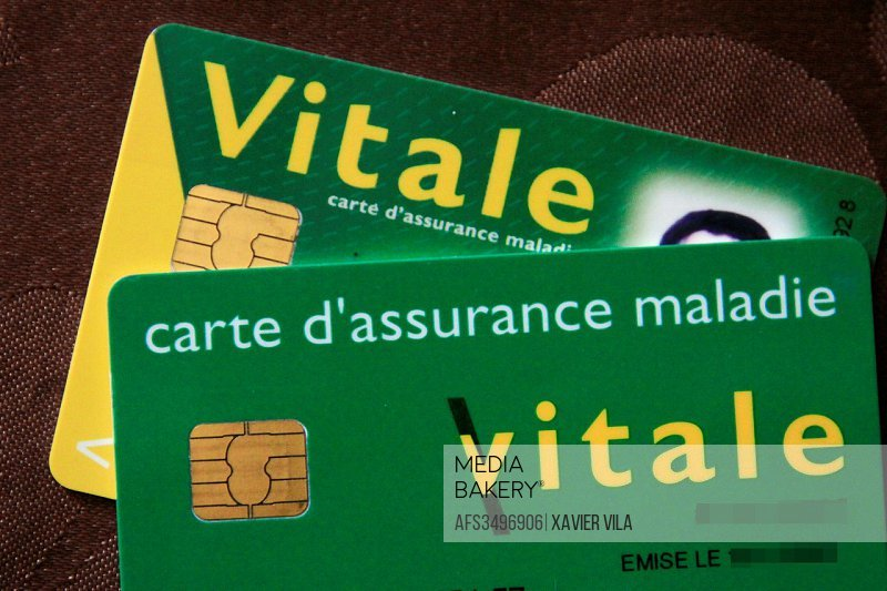 Illustration of the french card, carte vitale, for social security system, Health Insurance. Grenoble, FRANCE