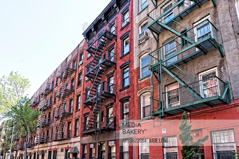 A Block Long Row Of Tenement Apartment Buildings In East Greenwich Village Manhattan Nyc