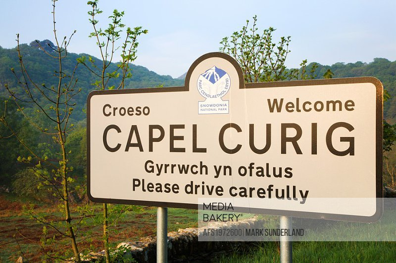 Welcome Sign Capel Curig Snowdonia Wales