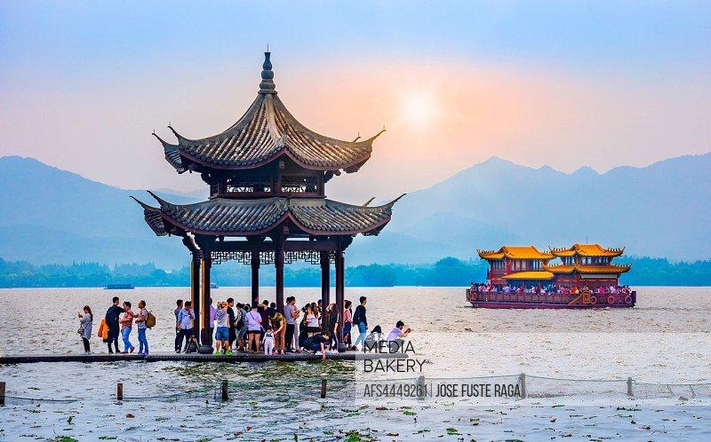 China, Hangzhou City, west Lake sunset