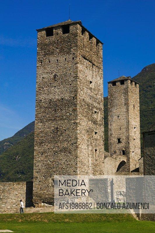 Tourist. Castelgrande. Bellinzona.Ticino. Switzerland.