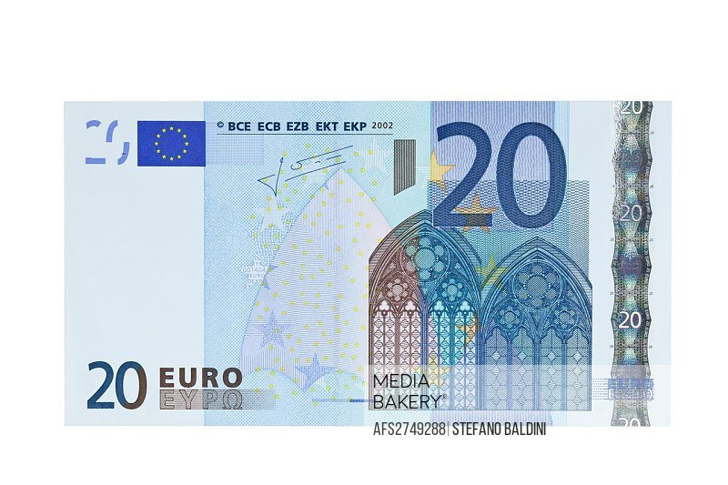 Twenty Euro banknote on a white background