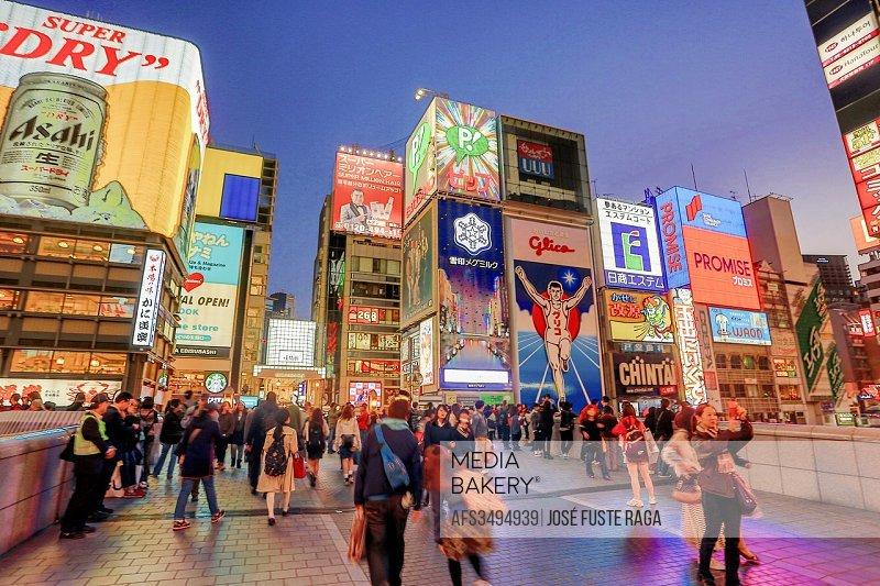 Japan , Kansai , Osaka City, Near Namba Station , Dotombori entertainment distric.