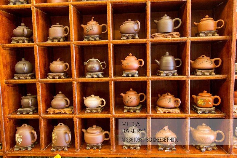 Teapots for sale in a tea shop