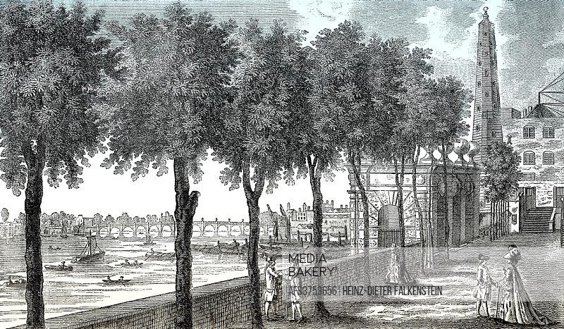 Westminster and Westminster Bridge from York Stairs and the water tower, London, England, 1780.