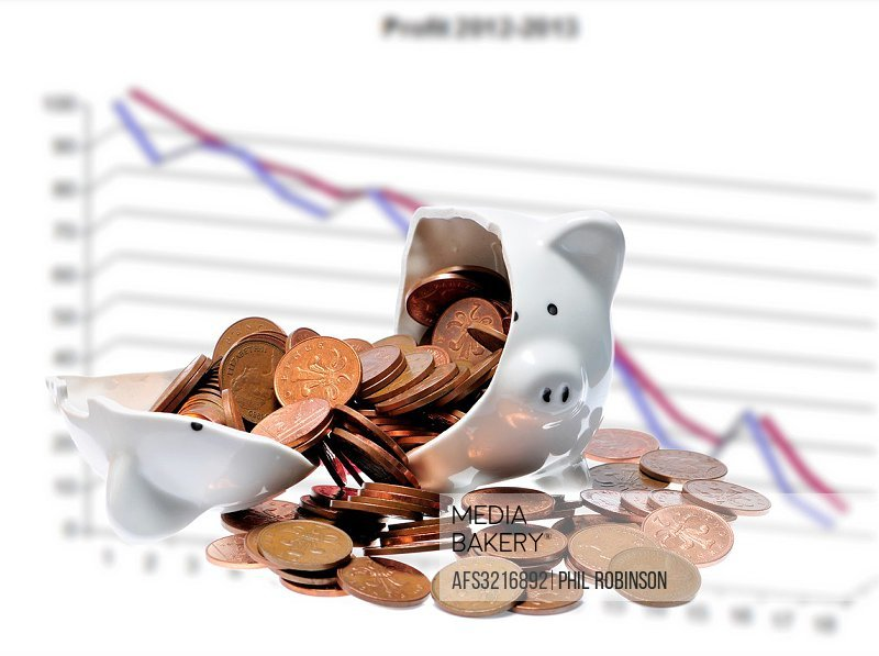 Broken piggy bank - falling graph.