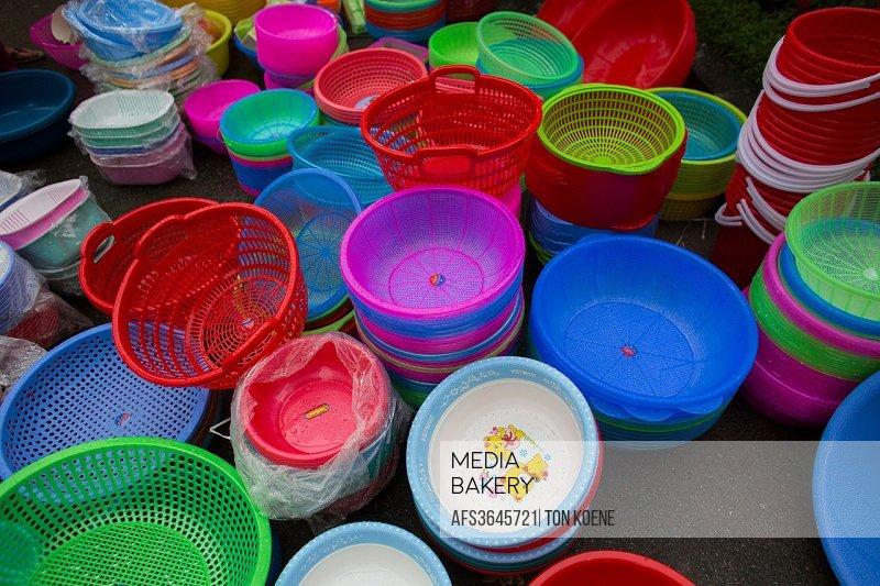 plastic household goods for sale in Hanoi, Vietnam.