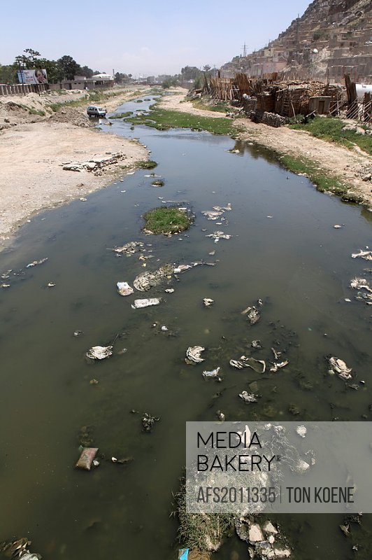 dried up kabul river, kabul, Afghanistan