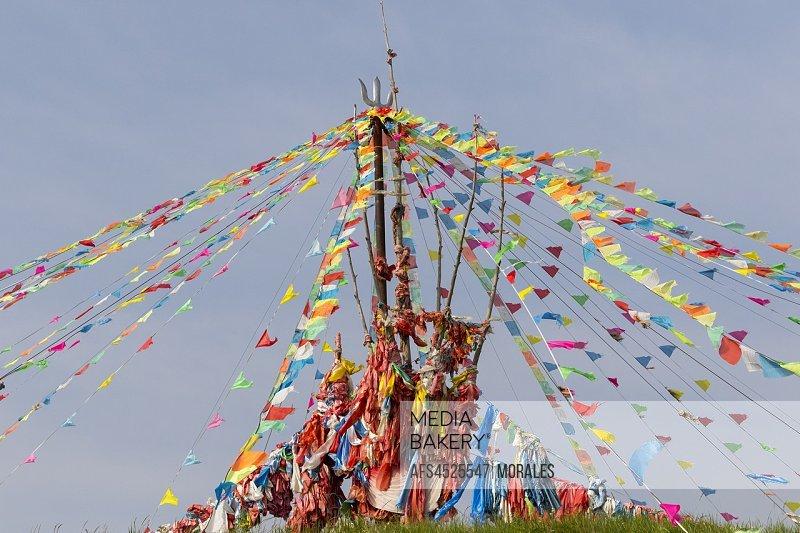 China, Inner Mongolia, Hebei Province, Zhangjiakou, Bashang Grassland, Tibetan religious monument.