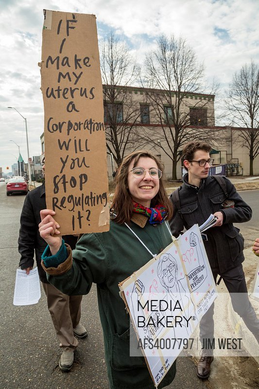 Detroit, Michigan USA - 11 February 2017 - Supporters of Planned Parenthood far outnumbered opponents as both sides rallied outside Planned Parenthood...