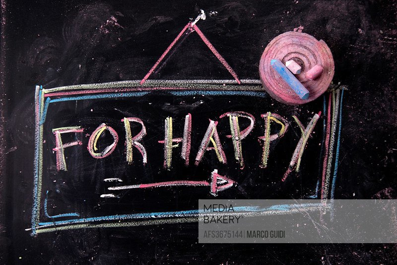 Graphical representation of the word, happy, written with chalk on blackboard.
