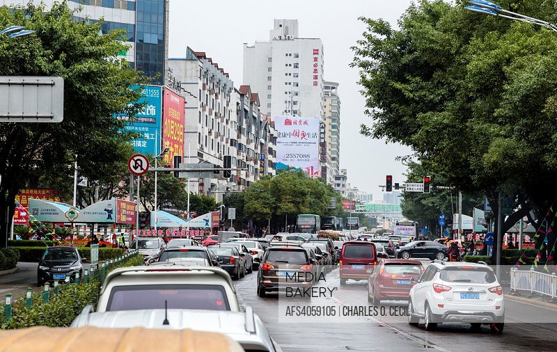 Guilin, China. Street Scene, Mid-morning Urban Traffic.