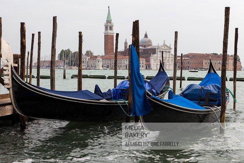 Venice. Rainy weather. Italy. Tied up gondolas.
