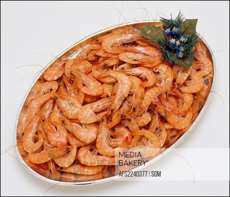 Seafood platter with pink shrimps