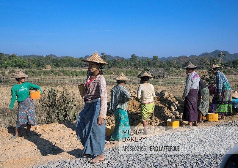 Workers Repairing Roads, Mrauk U, Myanmar.