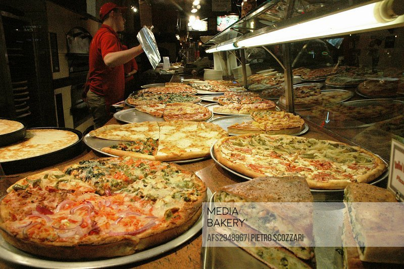 New York City, sliced pizza restaurant, Manhattan