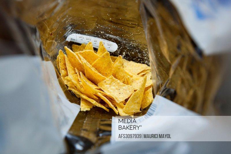Last Doritos chips inside the plastic bag