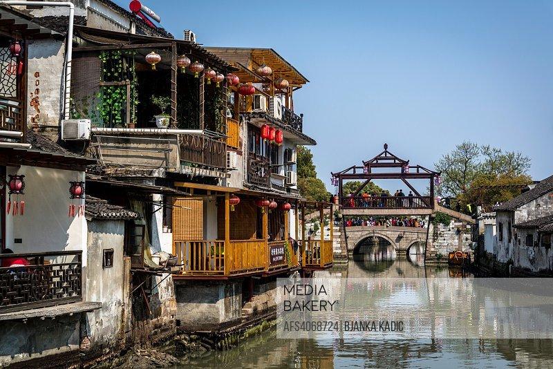 Bridge over a canal, Ancient water town of Tongli, Suzhou, Jiangsu Province, China.