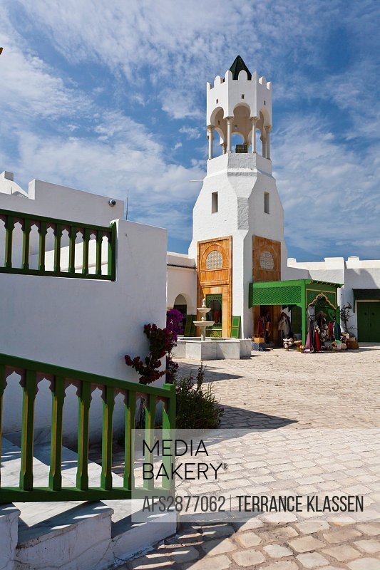 The tourist welcome center buildings and architecture at the Tunisian Port of La Goulette.