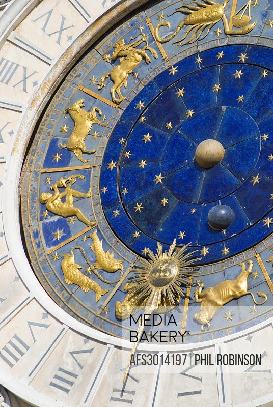 Venice, Veneto, Italy. San Marco Torre dell´Orlogio or Clock Tower. Clock: 1493-99 by Giampaolo and Zuan Carlo Ranieri. Detail