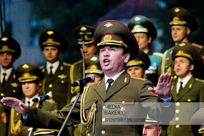 "A baritone soloist of the Russian Army Choir ""Alexandrov Ensemble"" singing solo part in the concert given in a small Czech town Loket, 14 June 2009  A..."