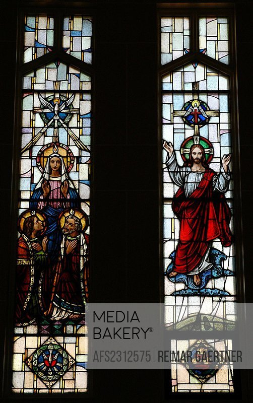 Stained Glass Icon of ascension and descent of the Holy Spirit