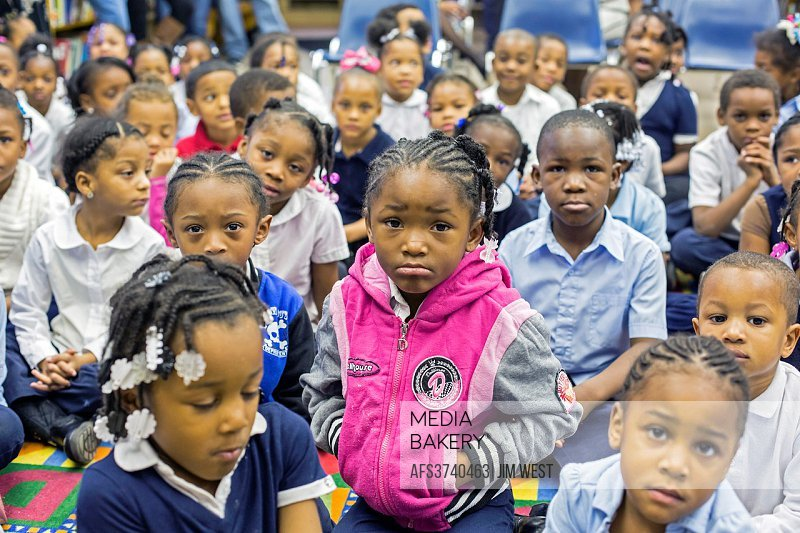 Detroit, Michigan - Children at Dossin Elementary School, part of the Detroit Public Schools.
