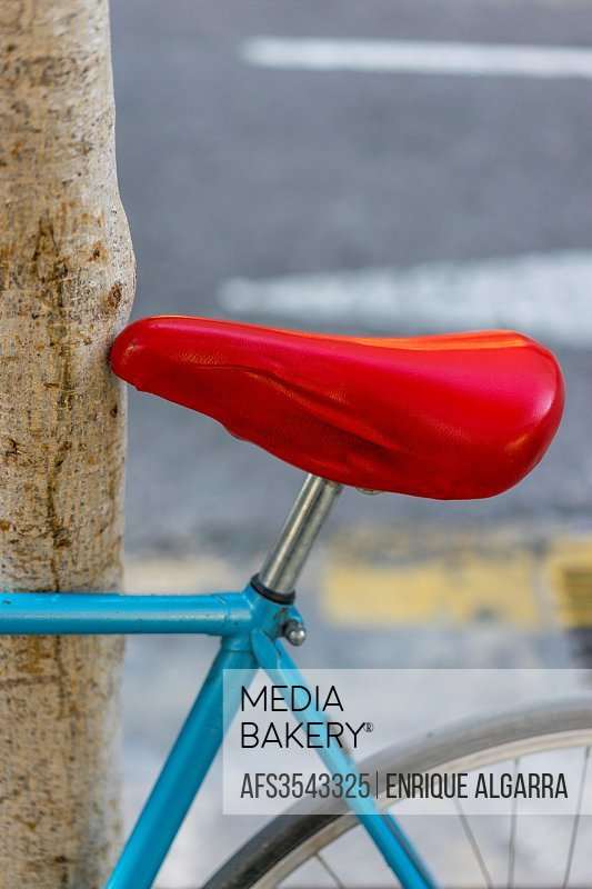 bicycle with red seat, Valencia, Spain.