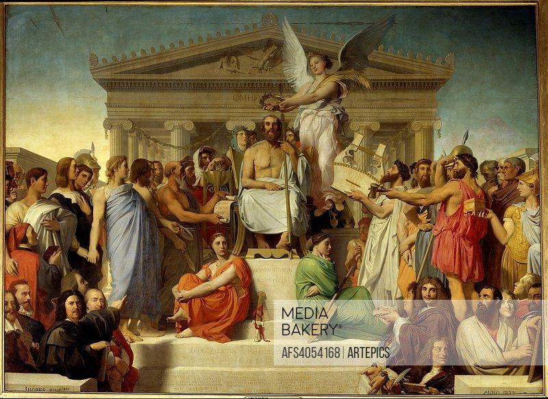 C1755Ingres Dominique ( 1780-1867 ) Ec. Fr. homere deifie ou l apotheose d homere ( h s/t 3,86 x 5,12 )Paris . Musee Du Louvre1827.