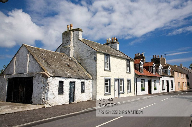 Row of traditional cottages, Isle of Whithorn, Dumfries and Galloway, Scotland, UK