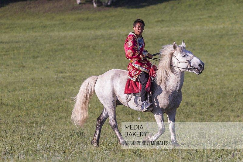 China, Inner Mongolia, Hebei Province, Zhangjiakou, Bashang Grassland, Mongol man traditionnaly dressed on a horse, .
