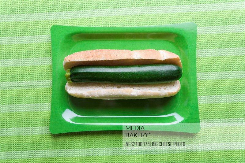 Zucchini in hot dog bun