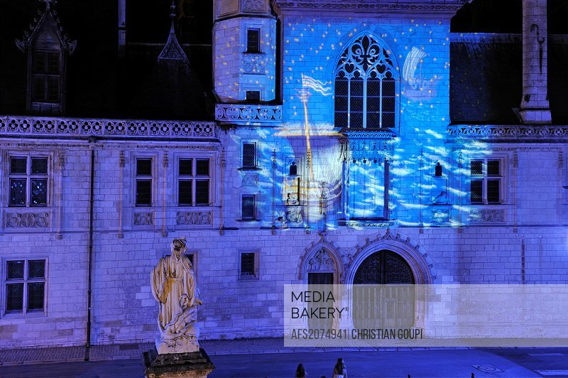 Palais Jacques Coeur during the ´Illuminated nights´, Bourges, Cher department, Berry province, region of Centre, France, Europe
