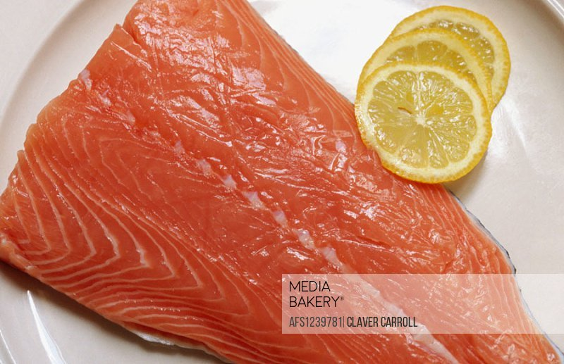 Nutrition, food: fresh salmon cut, healthy Omega 3 fish