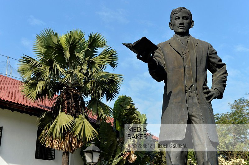 Statue of Jose Rizal ,a national heroe at the entrance of the Rizal Shrine museum in Fort Santiago,Intramuros , Manila, Philippines,South East Asia.