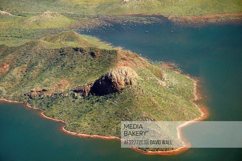 Aerial of shoreline of Lake Argyle, Kimberley Region, Western Australia, Australia