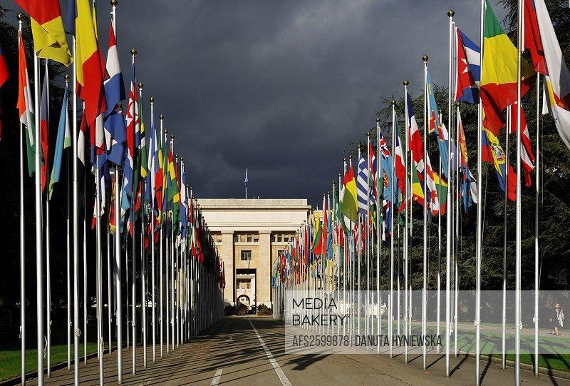 front of Palace of Nations, Geneva, Switzerland, Europe