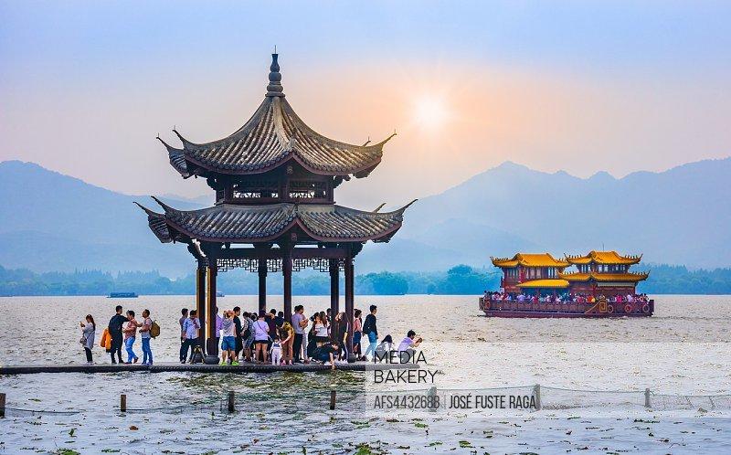 China, Hangzhou City, west Lake sunset.
