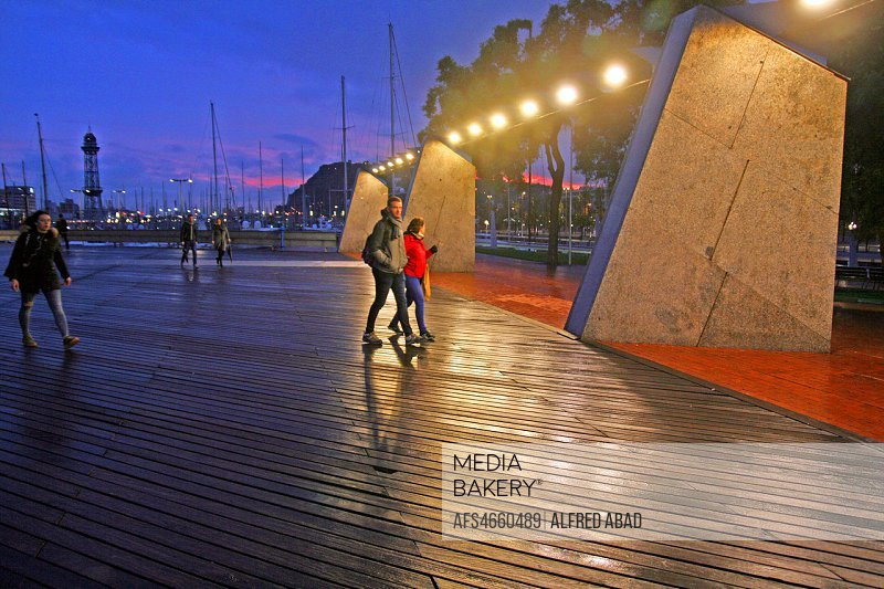 sunset on the port access walkway, Barcelona, Catalonia, Spain