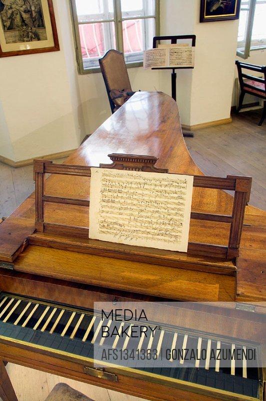 Mozart´s piano (original piano by Anton Walter, 1780) in Mozart´s birthplace, Salzburg. Austria