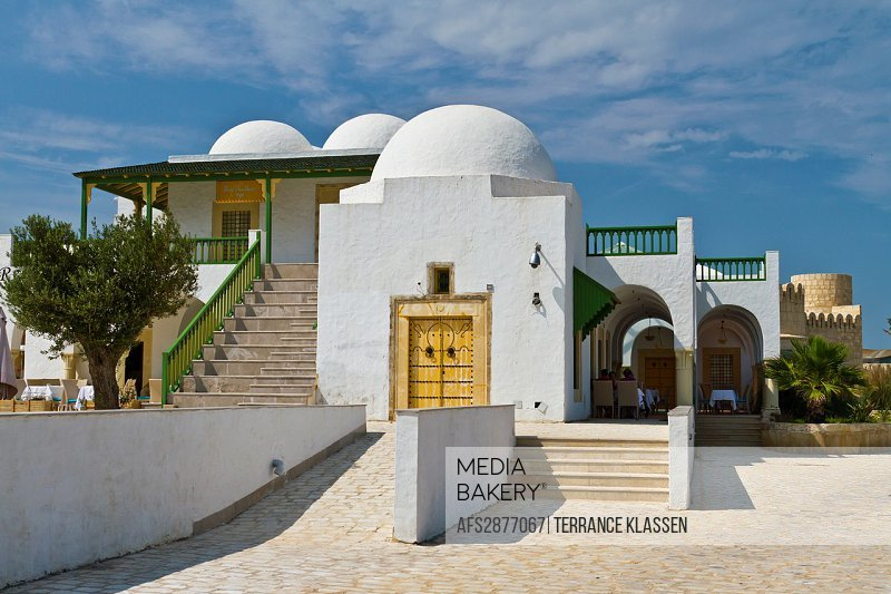 The tourist welcome center buildings and architecture at the Tunisian Port of La Goulette