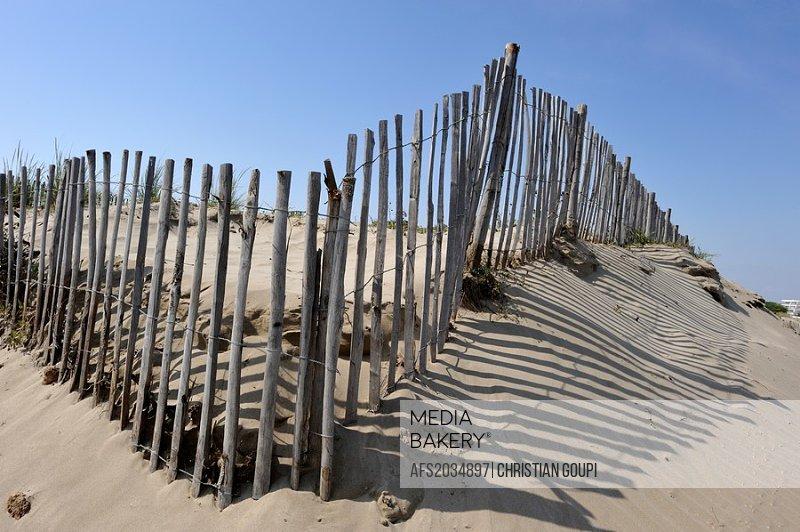 chesnut wooden fence against silting up, Grau du Roi, Gard department, France, Europe