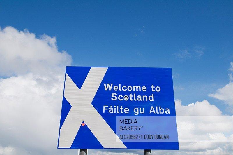 Welcome to Scotland sign, Scotland - England borger